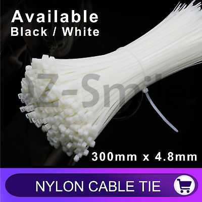 Cable Ties Zip Ties Nylon UV Stabilised Black White Cable Tie 300mm x 4.8mm