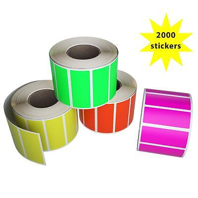Color Rectangle 1.57inch x 0.75 inch Stickers in Roll Fluorescent Label 2000 Pck
