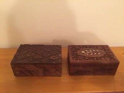 Anglo Indian Carved Wooden Boxes X2