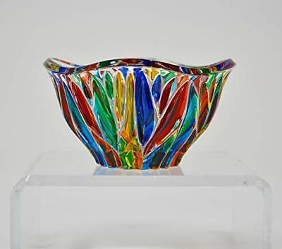 Venetian Glass Fire Bowl - Hand Painted Imported Italian Glass