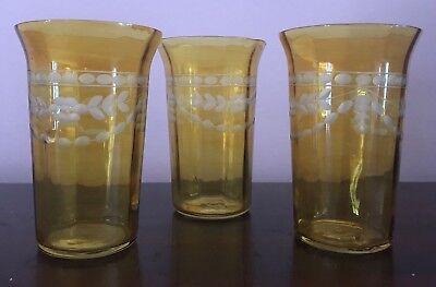 Depression Glass Water Tumblers Amber Yellow Set Of Three Etched