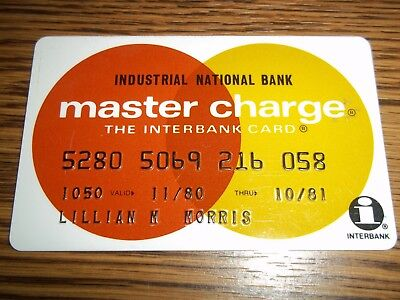 Vintage 1980 Master Charge Card Industrial National Bank