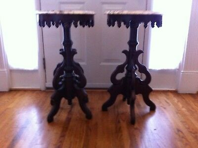 Pair of Vintage Marble Top Accent Tables Pedestals Stands