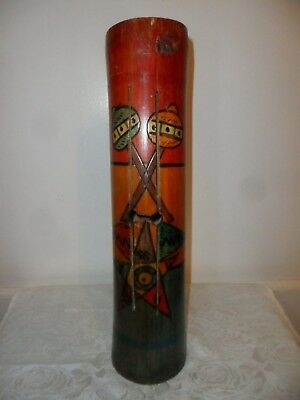 """Vintage Hand Carved Wood Totem Pole Statue - 14"""" Tall - Has Rattles Inside"""