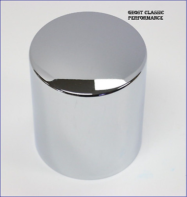 """Chrome Steel Oil Filter Cover Short Style 4- 9/32"""" Tall x 3 11/16"""" SBC BBC 350"""