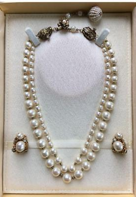 Antique pearl necklace handmade earrings
