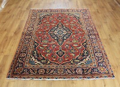 Old Wool Hand Made Persian  Oriental Floral Runner Area Rug Carpet 193X 130 Cm