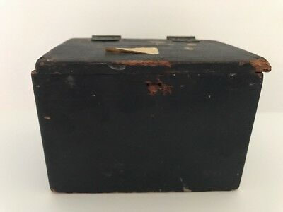 Vintage Wooden Painted Trunk bank Box Signed by artist 1924