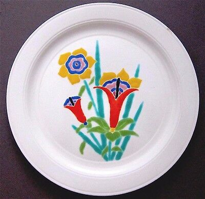 "Harry Bird for Vernon Kilns~Lily Orange Pattern 9.5"" Luncheon Plate 1935-39"
