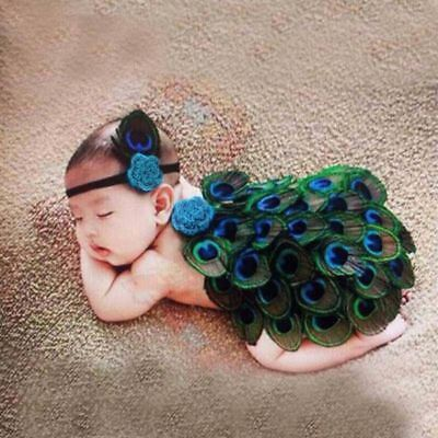 Baby Girls Boys Crochet Knit Costume Photo Photography Prop Outfits Peacock
