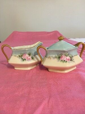 Antique German Hand Painted Porcelain Cream And Sugar With Gold Handles