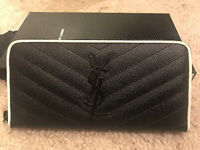 7d4e3a0b992 NIB Auth YSL Saint Laurent monogram zip around Quilted Textured Leather  wallet