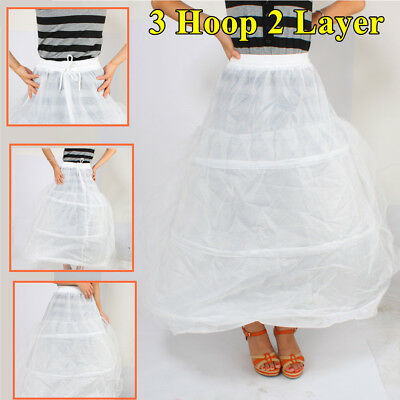 3 Hoop 2 Layer Ball Gown crinoline petticoat skirt slips Underskirt