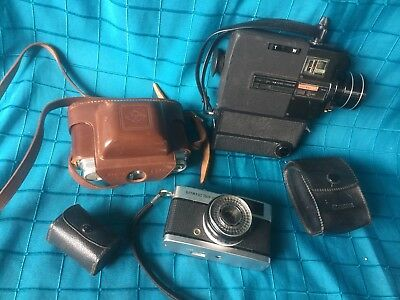 Bulk Lot Vintage Cameras, Video Camera, Kense & Flash - Sankyo, Olympus Trip 35