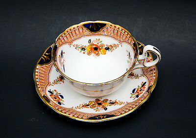 Royal Stafford China England Tea Cup And Saucer Blue Floral Gold