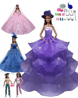 25 Pcs Doll Clothes Huge Lot Gown Outfits Barbie Girl Party Accessories Gift