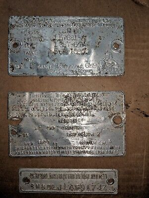 Holden Hj Cab Chassis Tonner Id Tags May Suit Hq Hx Hz Wb Collector Display