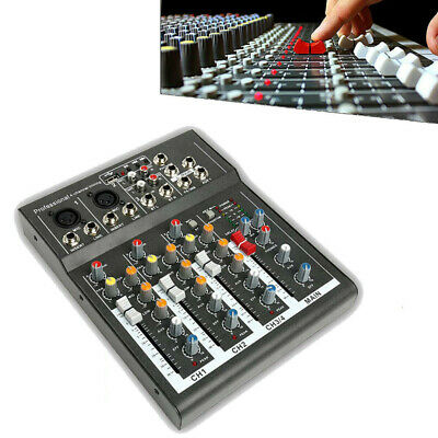 Portable 4 Channels USB Audio Interface Mixer Studio Sound Mixing Console