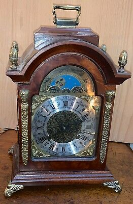 Dutch Cabinet Moonphase Mantle Clock, Franz Hermie Mechanism 8 day movement