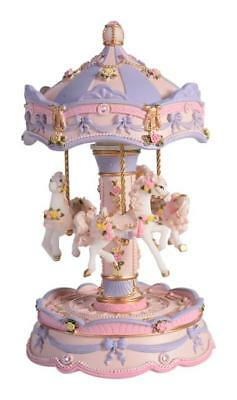 Pretty MUSICAL HORSE CAROUSEL Child Baby Newborn Christening Wind Up Keepsake