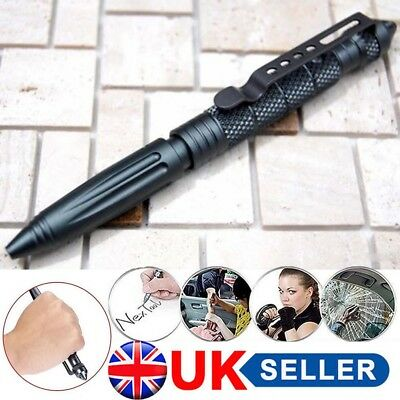 "Aluminum 6"" Tactical Pens Glass Breaker BLACK Survival Army Pen Christmas Gift"
