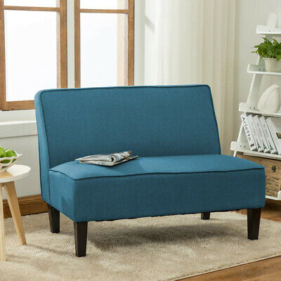 Upholstered Settee Loveseat Sofa Couch Banquette Armless Linen Living Room Blue