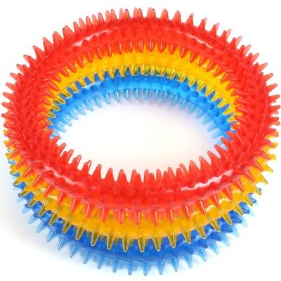 SOFT PET DENTAL CHEW TOY Dog Puppy Teeth Cleaning Chewy Play Biting Ring Clean