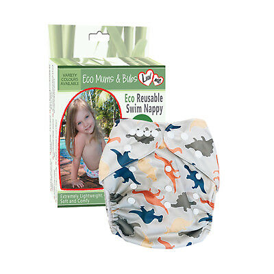 REUSABLE SWIM NAPPY Baby Swimmer NEWBORN to TODDLER Diaper Pants Nappies DINO