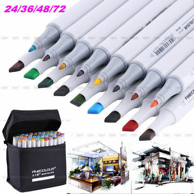 24/36/48/72 Color Set Doble Punta Arte Dibujo Pintura Rotulador Base de Alcohol