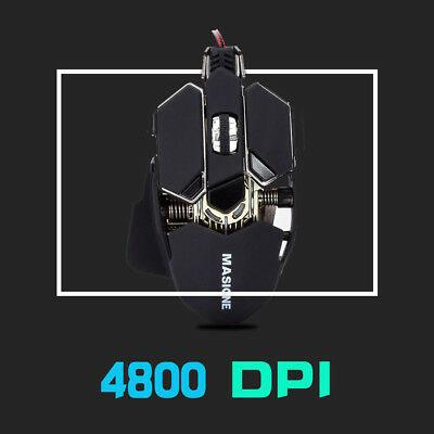 FPS Gaming Mouse with 4800 Max DPI, 10 Programmable Buttons