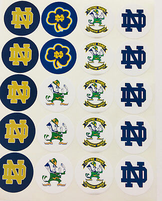 """SET of 20- 2"""" NOTRE DAME ADHEVISE STICKERS.Make Birthday Cupcake Toppers"""