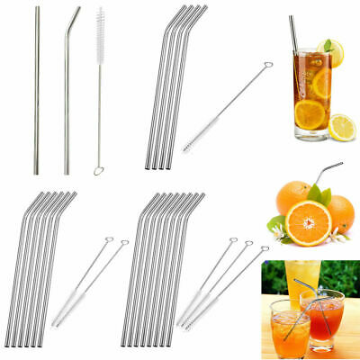 1/2/4/6/8pcs Stainless Steel Metal Drinking Straw Reusable Straws+Cleaner Brush