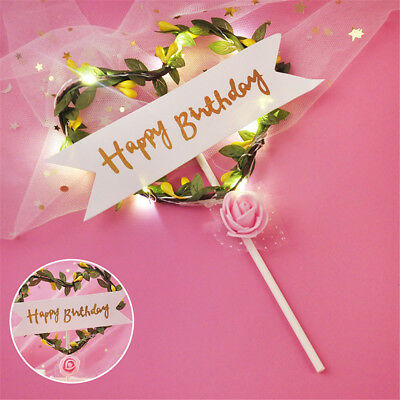 New Happy Birthday LED LightUp Flashing Flower Cake Toppers Birthday Party Decor