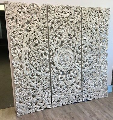 Indian Antique style Display Panel HeadBoard Mango Wood Painted Decorative panel
