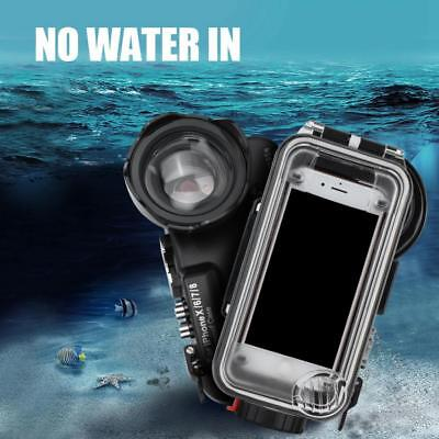 60M/195ft Underwater Diving Waterproof Case with Fisheye Lens for iPhone X 6 7 8