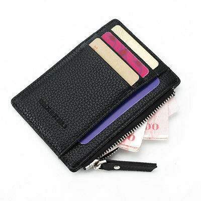 Women Men PU Leather Small Coin Case Card Key Ring Wallet Pouch Mini Purse Bags