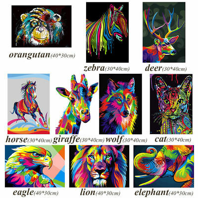 5D Diamant Broderie Peinture Point Diamond Painting Kit Coloré Animal Home Decor