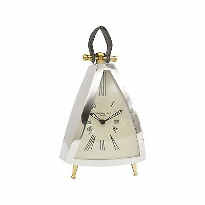 Curved Isosceles Front Mantel Clock With Leather Handle From Libra
