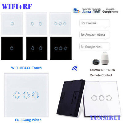 2in1 WiFi+RF 1/2/3 Gang Smart Switch Home Wall Light Control w/RF Touch Remote