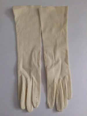 True Vintage cream ribbed long nylon blend gloves Gant Peyret Paris