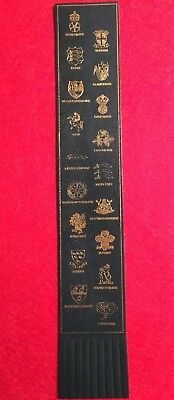 Collectable Black Leather Bookmark County Arms  (#Ee02)