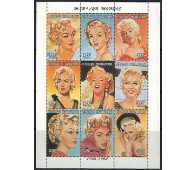 AFRICA CENTRALE 1997 Omaggio a Marilyn Monroe 9v MNH**