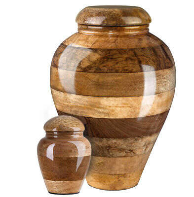 Stunning and very special wooden mango Cremation Funeral urn for ashes Keepsake