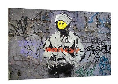 Art Critic Assessing Graffiti Work By Banksy Wall Art Poster Prints