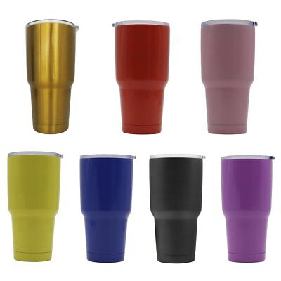 Double Wall Stainless Steel Mug Vacuum Insulation Cup With Crystal Clear Lid#FT