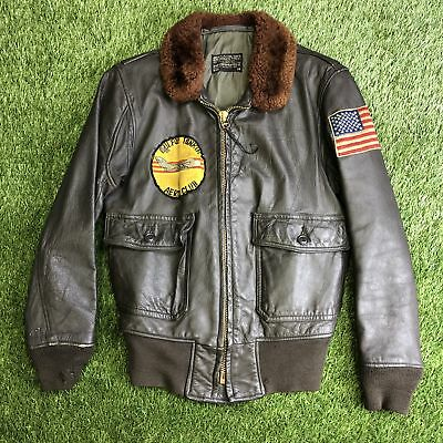 RARE Vintage Vietnam US Navy VP-9 Bomber G-1 Leather Jacket w/ Patches Mens 38