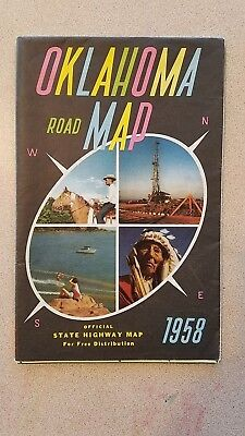 Vintage Fold Out Road Map - Oklahoma - Official State Highway Map 1958 Good Used