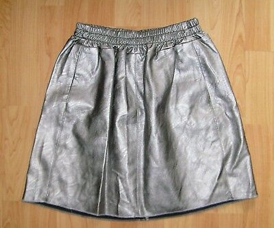 24ff2acfbf2bb ZARA jupe faux simili cuir argent T38-40 UK10-12 faux leather silver skirt