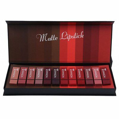 Teayason 12 Color Square Tube Sexy Red Mouth Red Fog Face Lipstick Set AZ