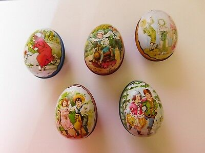 Lot of 5 Vintage Easter Egg Tins IAN LOGAN – Kite Girls Skater Train Swiss Made